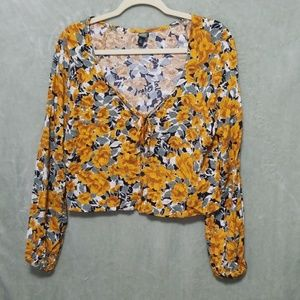 90s style floral crop top blouse long sleeve 90's
